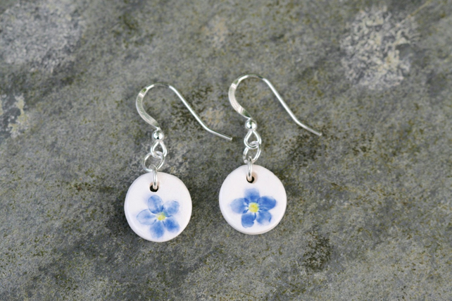 Forget-me-not Imprinted Ceramic Pendant Earrings with Sterling Silver Hooks