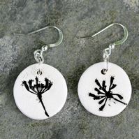 Cow Parsley Imprinted Ceramic Pendant Earrings with Sterling Silver Hooks
