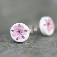 Pink Elderflower Imprinted Ceramic Stud Earrings
