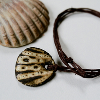 Seashell Textured Ceramic Pendant on Hemp Cord