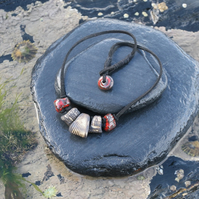Seashell Textured Ceramic Bead Necklace on Suede