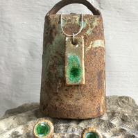 Ceramic ad Recycled Glass Pendant on Sterling Silver chain