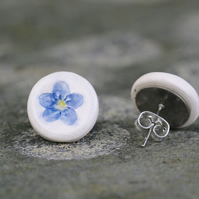 Forget me not Imprinted Blue and White Ceramic Stud Earrings