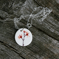Pink Blossom Ceramic Pendant on Sterling Silver Chain