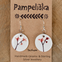 Pink Blossom Imprinted Ceramic Pendant Earrings with Sterling Silver Hooks