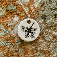 Cow Parsley Imprinted Round Ceramic Pendant on Sterling Silver Chain