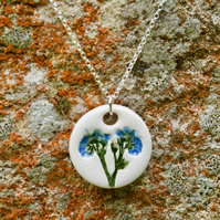 Forget-me-not Ceramic Pendant on Sterling Silver Chain Necklace