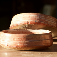 Shallow bowl, serving bowl, stoneware bowl, wood fired bowl.
