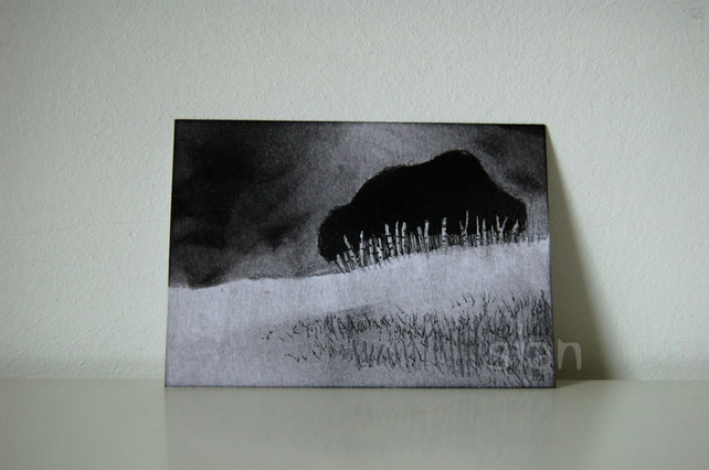 Landscape with birch trees (monochrome) - Original ACEO