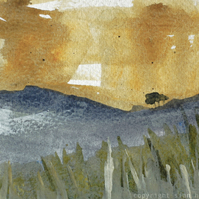 Ochre and blue Peak District landscape - original painting