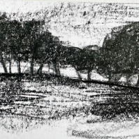 Field's end: original Peak District art, graphite drawing