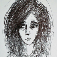 Sad person with big eyes: Original biro portrait