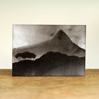 Mountain landscape with trees (monochrome) - Original ACEO