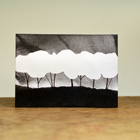 Landscape with trees (monochrome) - Original ACEO