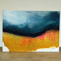 Blue, Ochre and Pink Abstract Landscape