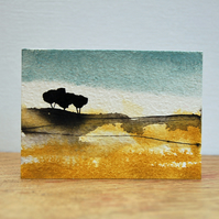 Landscape painting with trees - Original ACEO