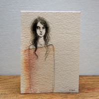 Sad girl, original drawing ACEO