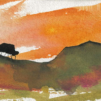 Sunset painting hill with trees