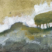 Original landscape painting with trees