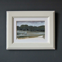 Landscape painting - birch woodland clearing