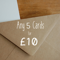Any 5 greeting cards - value multipack