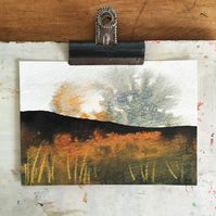 Autumn moorland bracken - Peak District landscape painting