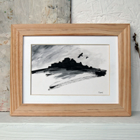 Crows in flight at Over Owler Tor, Hathersage Moor - original ink sketch