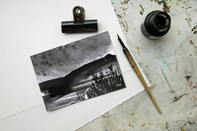 Rain over Win Hill at Ladybower  - original ink sketch