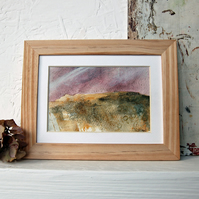 Pink moorland: Original Peak District landscape painting