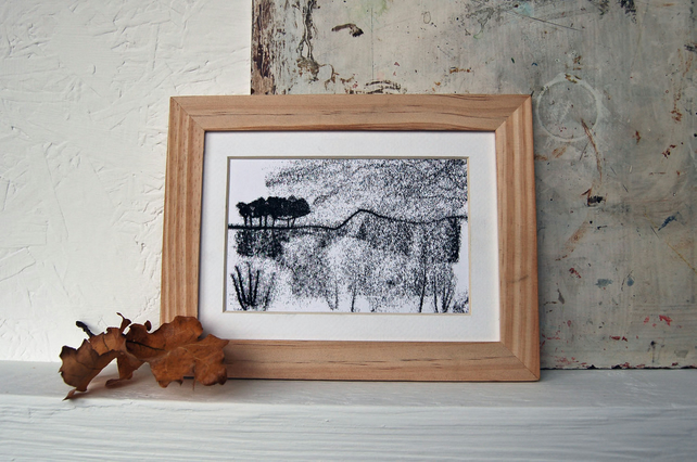 Peak District moorland landscape art - Original Monoprint