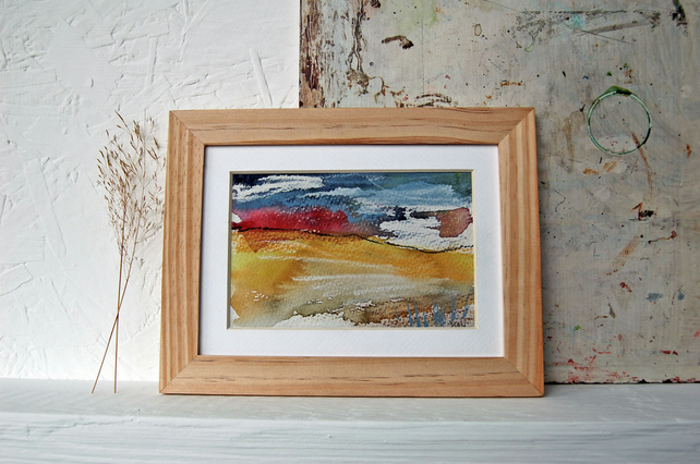 Red Horizon: colourful original landscape painting