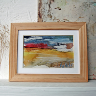 Moorland Grass with Red Horizon: original Peak District landscape painting