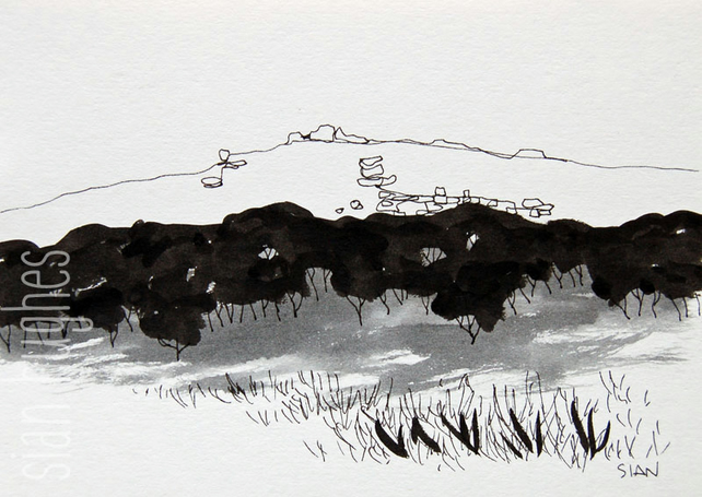 Over Owler Tor from Upper Padley - original ink sketch