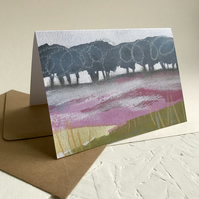 Heather and Birch Trees, Froggatt - Peak District art greetings card