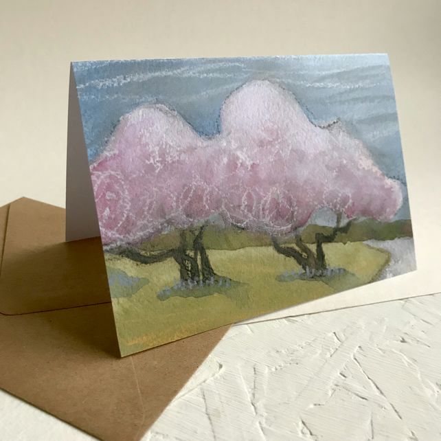 Pink Magnolia Trees greetings card
