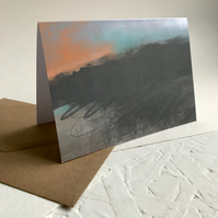 Moorland Sunset - Peak District landscape art greeting card