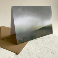 Dark Moorland Rain with grouse - greeting card