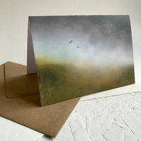 Dark Moorland Mist with Crows - greeting card