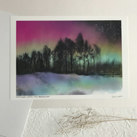 Northern Lights Over Ringinglow - Signed Peak District Art Print