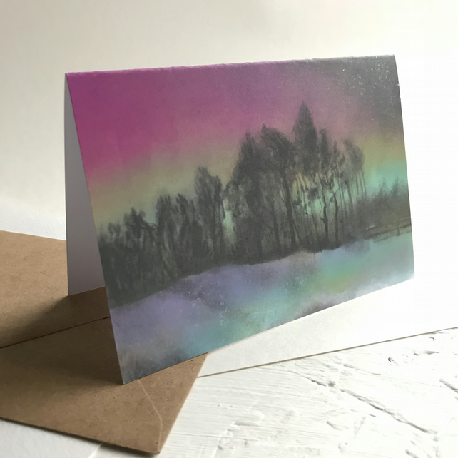 Northern Lights Over Ringinglow, Sheffield - Peak District greeting card