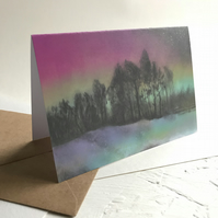 Northern Lights Over Ringinglow, Sheffield - greeting card