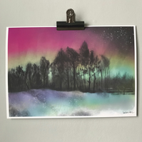 Northern Lights Over Ringinglow - Peak District Art Print