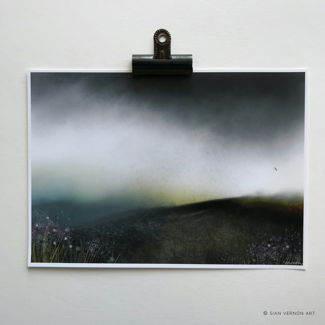 Dark Moorland Rain - Peak District landscape Art Print