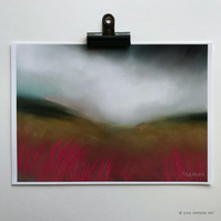 Rain over Burbage Moor - Peak District art print