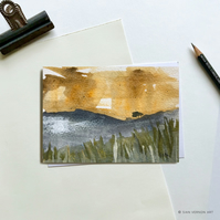 SALE! Ochre and blue Peak District landscape - original painting