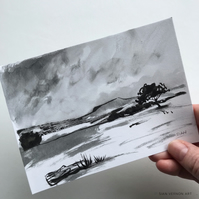 Higger Tor from Longshaw  - original Peak District landscape painting