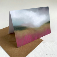 Rain over Burbage Moor - Peak District art greetings card