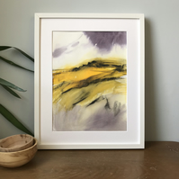 Autumn Moorland - ORIGINAL Peak District Landscape painting, Derbyshire wall art