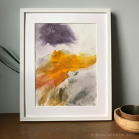 Higger Tor - ORIGINAL Peak District Landscape painting, Derbyshire wall art