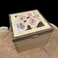 Wooden Jewellery Box Roses